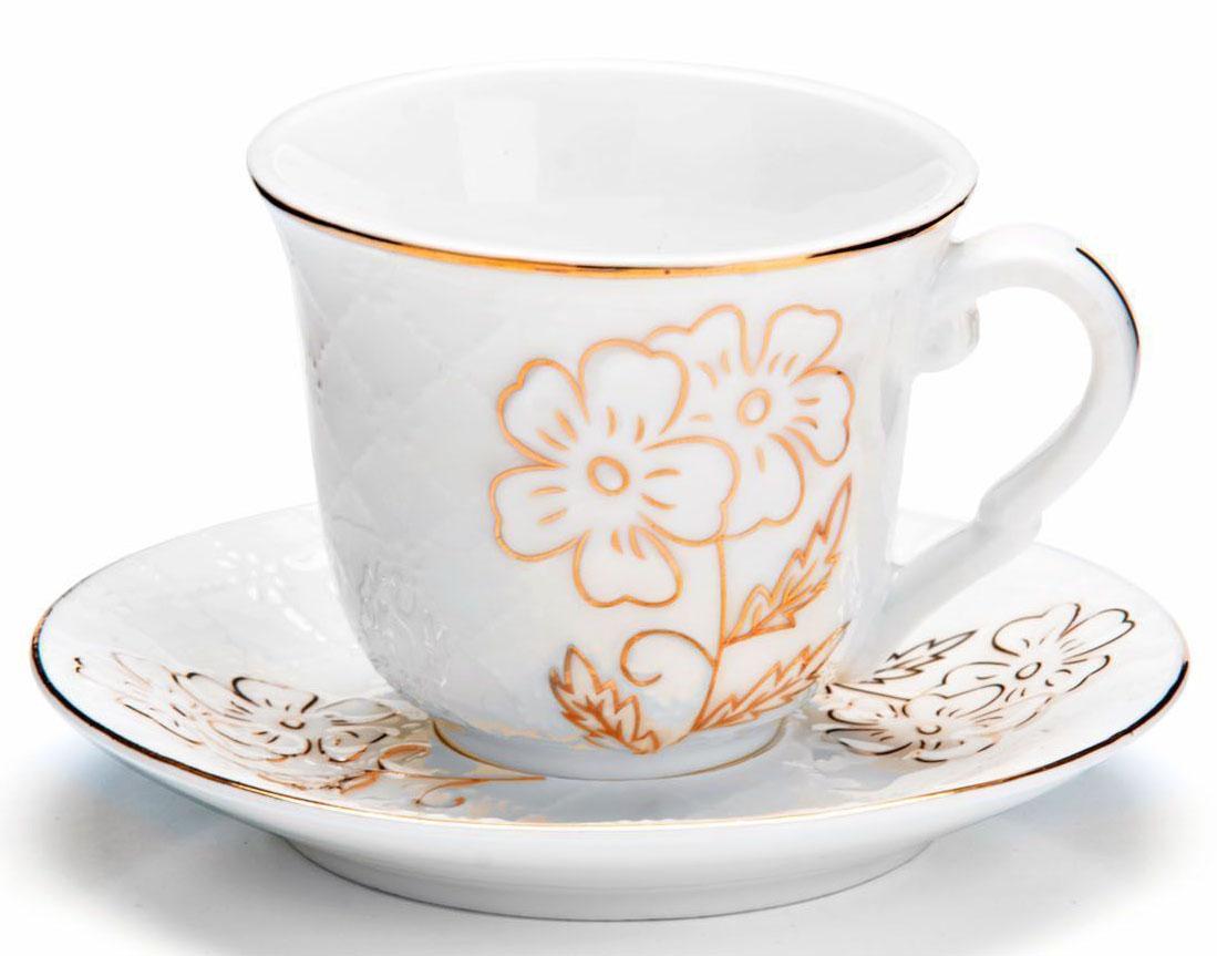 Кофейный сервиз Loraine, 90 мл, 12 предметов. 26825115510Кофейный набор на 6 персон Loraine выполнен из высококачественного костяного фарфора - материала безопасного для здоровья и надолго сохраняющего тепло напитка.Несмотря на свою внешнюю хрупкость, каждый из предметов набора обладает высокой прочностью и