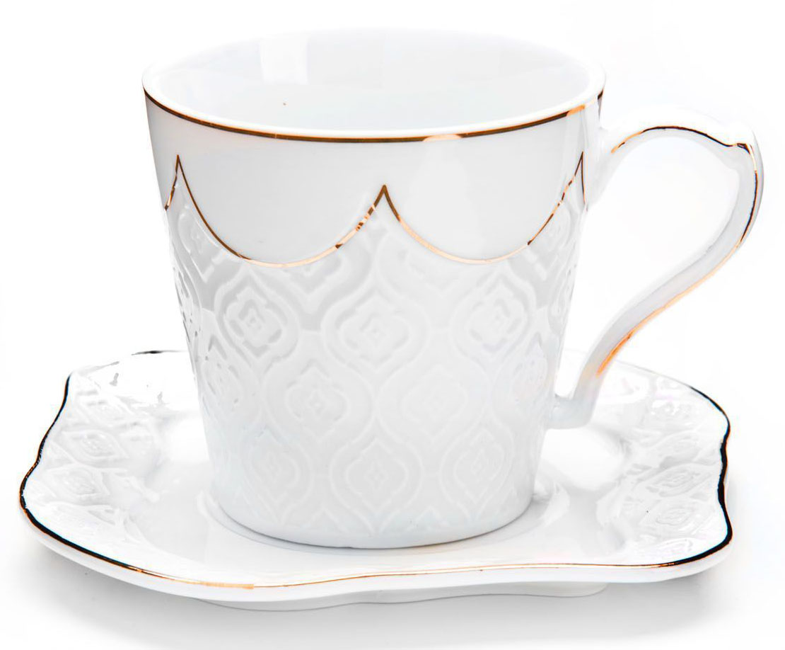 Чайный сервиз Loraine, 12 предметов, 200 мл. 26828115510Чайный набор Loraine на 6 персон, изготовленный из высококачественной керамики изысканного белого цвета, состоит из 6 чашек и 6 блюдец. Изделия набора украшены тонкой золотой каймой и имеют красивый и нежный дизайн.Набор придется по вкусу и ценителям классики, и тем, кто предпочитает утонченность и изысканность. Он настроит на позитивный лад и подарит хорошее настроение с самого утра.Набор упакован в подарочную упаковку. Такой чайный набор станет прекрасным украшением стола, а процесс чаепития превратится в одно удовольствие! Это замечательный выбор для подарка родным и друзьям!Объем чашки: 200 мл.