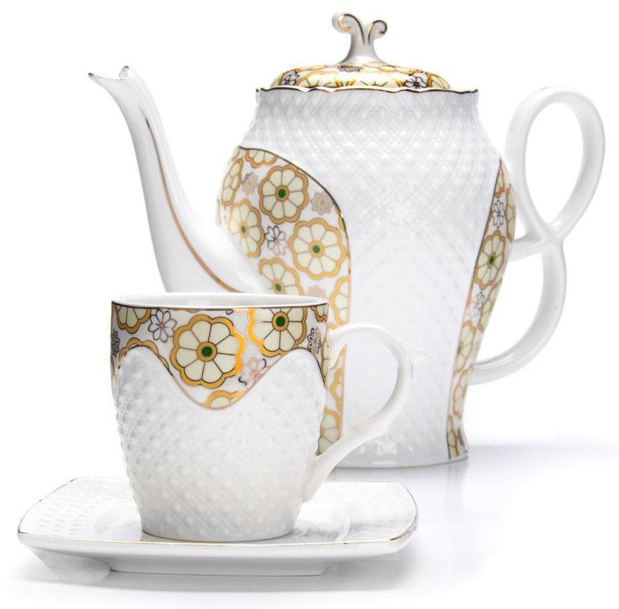 Чайный сервиз Loraine, 13 предметов. 2683625787Чайный набор Loraine на 6 персон, изготовленный из высококачественной керамики изысканного белого цвета, состоит из 6 чашек, 6 блюдец и заварочного чайника. Изделия набора украшены тонкой золотой каймой и имеют красивый и нежный дизайн. Набор придется по вкусу и ценителям классики, и тем, кто предпочитает утонченность и изысканность. Он настроит на позитивный лад и подарит хорошее настроение с самого утра. Набор упакован в подарочную упаковку.Такой чайный набор станет прекрасным украшением стола, а процесс чаепития превратится в одно удовольствие! Это замечательный выбор для подарка родным и друзьям! Объем чайника: 1,3 л. Объем чашки: 220 мл.