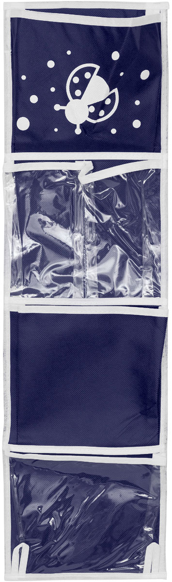 Карманы подвесные Все на местах Божья коровка, для шкафчика в детский сад, цвет: темно-синий, 5 карманов, 73 x 20 смRG-D31SПрактичный органайзер с кармашками Все на местах Божья коровка станет помощником для детей, родителей и воспитателей в детском саду. Изготовлено изделие из высококачественного нетканого материала (спанбонда) и ПВХ. Органайзер занимает мало места, он компактно поместится в детском шкафчике. Для комфорта сверху и снизу предусмотрены небольшие петельки. Изделие содержит 5 кармашков без застежек. В органайзер поместятся все необходимые ребенку принадлежности, а также небольшие игрушки. Размер органайзера: 73 x 20 см.