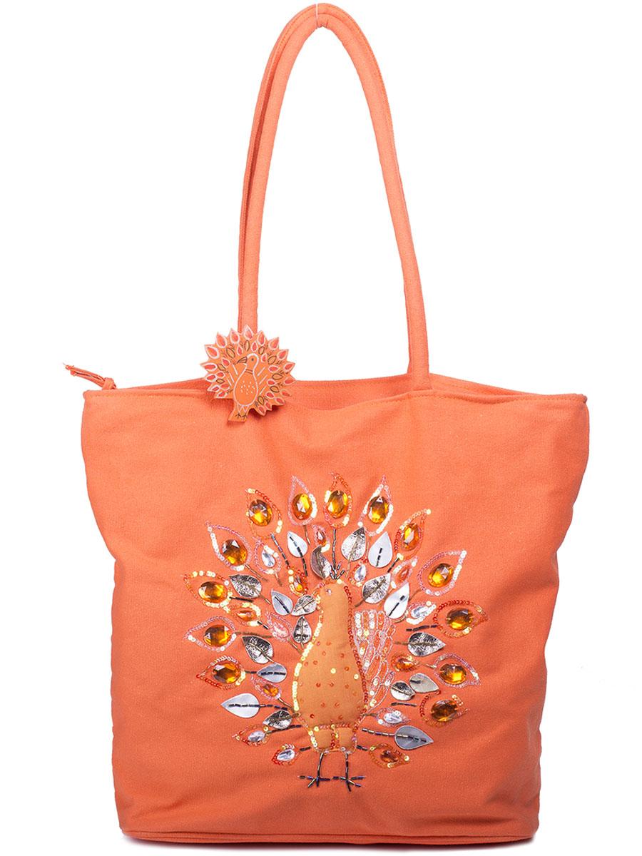 Сумка женская Baggini, цвет: оранжевый. 50008/62BM8434-58AEСумка женская Baggini выполнена из текстиля. Модель с одним отделением застегивается на молнию. Внутри имеются карманы. Передняя стенка декорирована аппликацией в виде фазана со стразами и пайетками.