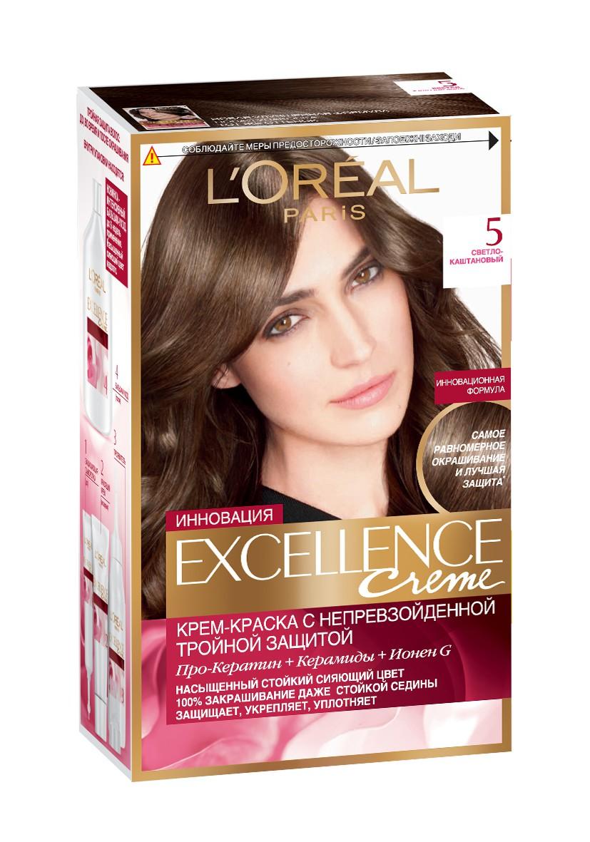 LOreal Paris Стойкая крем-краска для волос Excellence, оттенок 5, Светло-каштановыйWL-81138282Крем-краска для волос Экселанс защищает волосы до, во время и после окрашивания. Уникальная формула краскииз Керамида, Про-Кератина и активного компонента Ионена G, которые обеспечивают 100%-ное окрашивание седины и способствуют длительному сохранению интенсивности цвета. Сыворотка, входящая в состав краски, оказывает лечебное действие, восстанавливая поврежденные волосы, а густая кремовая текстура краски обволакивает каждый волос, насыщая его интенсивным цветом. Специальный бальзам-уход делает волосы плотнее, укрепляет их, восстанавливая естественную эластичность и силу волос.В состав упаковки входит: защищающая сыворотка (12 мл), флакон-аппликатор с проявителем (72 мл), тюбик с красящим кремом (48 мл), флакон с бальзамом-уходом (60 мл), аппликатор-расческа, инструкция, пара перчаток.