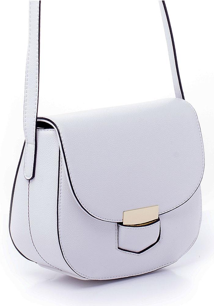 Сумка женская Renee Kler, цвет: белый. RK7024-02L39845800Сумка Renee Kler выполнена из искусственной кожи и имеет жесткую форму. Модель закрывается с помощью клапана. Внутри расположены карманы для мелочей и мобильного телефона. Снаружи на задней стороне сумки имеется накладной открытый карман. Сумка имеет несъемный наплечный ремень с пряжкой для регулировки длины.