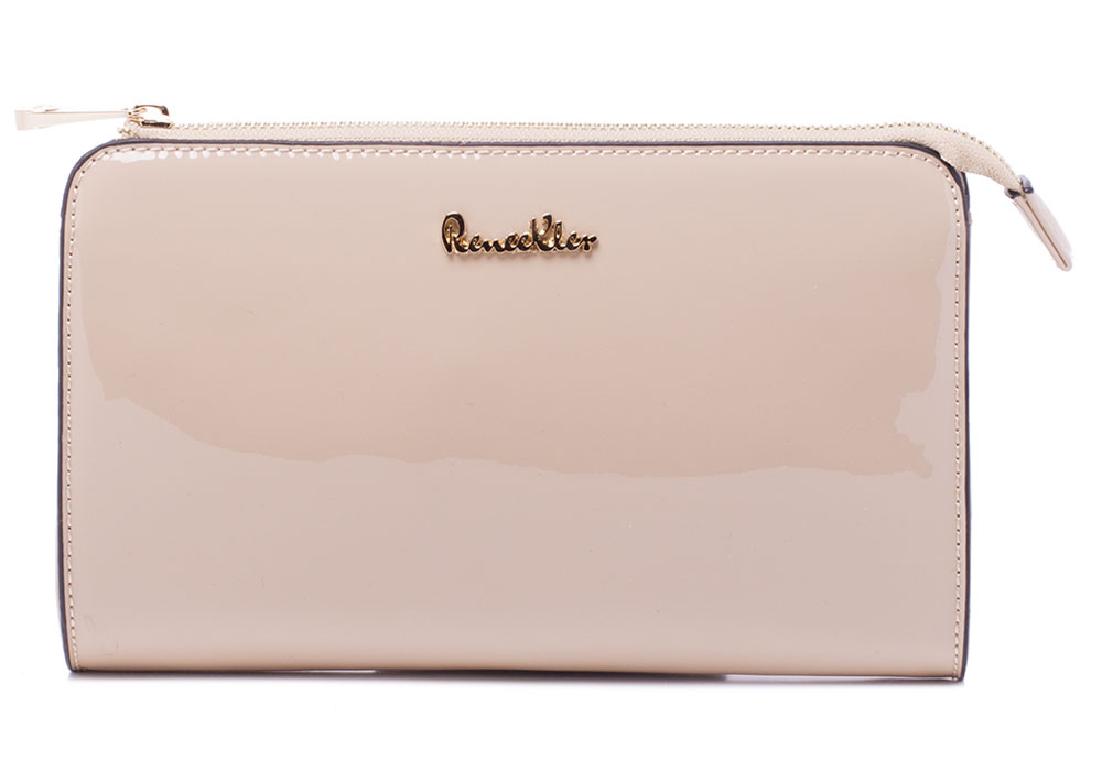 Сумка женская Renee Kler, цвет: светло-бежевый. RP7001-07BM8434-58AEСумка Renee Kler выполнена из искусственной лаковой кожи. Изделие застегивается на молнию. Снаружи на задней стороне сумки имеется прорезной карман на молнии. Внутри расположены карманы для мелочей и мобильного телефона. Сумка имеет съемный наплечный ремень регулируемой длины.