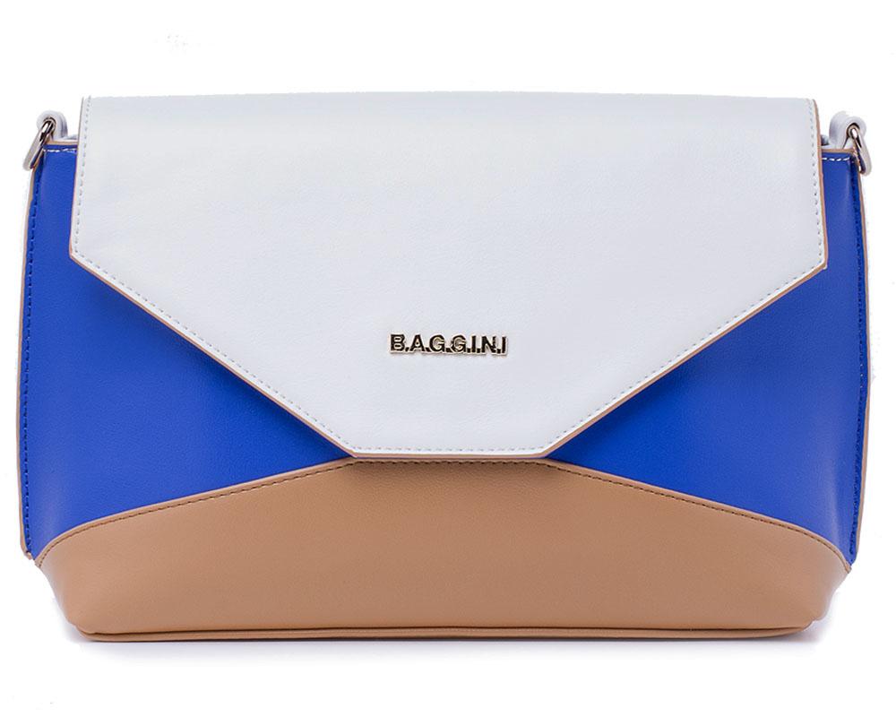Сумка женская Baggini, цвет: синий, бежевый, белый. 29802/4329802/43Женская сумка Vitacci выполнена из высококачественной искусственной кожи. Сумка закрывается клапаном с кнопкой и имеет одно вместительное отделение на застежке-молнии, внутри располагается прорезной карман на застежке-молнии и два накладных кармашка для мелочей и телефона. На тыльной стороне сумки расположен прорезной карман на застежке-молнии. Сумка оснащена съемным наплечным ремнем, который регулируется по длине. Сумка - это стильный аксессуар, который подчеркнет вашу изысканность и индивидуальность и сделает ваш образ завершенным. С такой сумочкой вы не останетесь незамеченной.