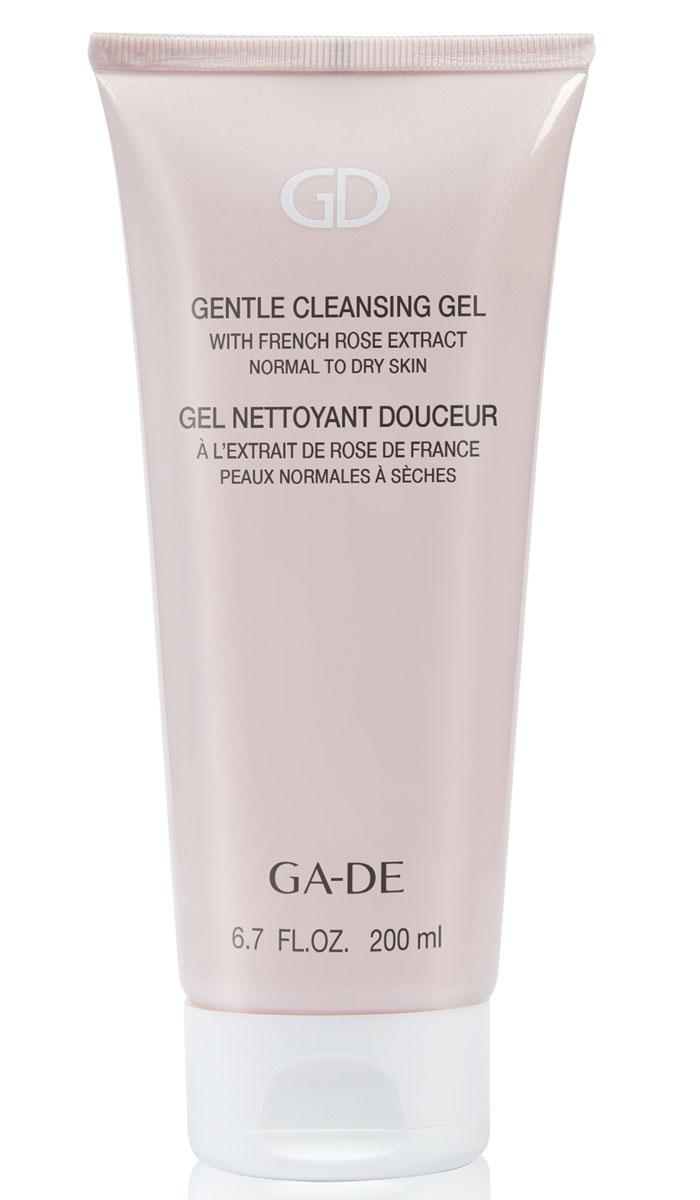 GA-DE Гель для умывания Gentle Cleansing Gel (для сухой и нормальной кожи), 200 млFS-00897Мягкий гель на растительных экстрактах нежно снимает макияж, очищает и эффективно восстанавливает гидролипидную мантию кожи, нормализует водно-солевой баланс и прекрасно увлажняет кожу.