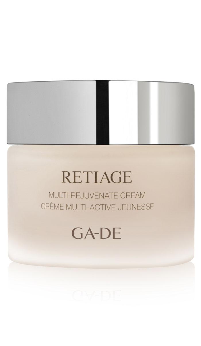 GA-DE Дневной крем Retiage Multi-Rejuvenate, 50 мл8809344970343Бархатистый и нежный мульти- омолаживающий крем, обогащённый активными клетками растений, ретинолом и эффективными анти- возрастными ингредиентами, помогает улучшить внешний вид кожи и уменьшить внешние признаки старения, включая мелкие и глубокие морщины. Активно стимулирует процессы клеточной регенерации и восстановления структуры кожи. Глубоко увлажняет кожу и поддерживает её гидролипидный баланс, наполняет клетки энергией, стимулирует выработку коллагена, повышает упругость кожи.