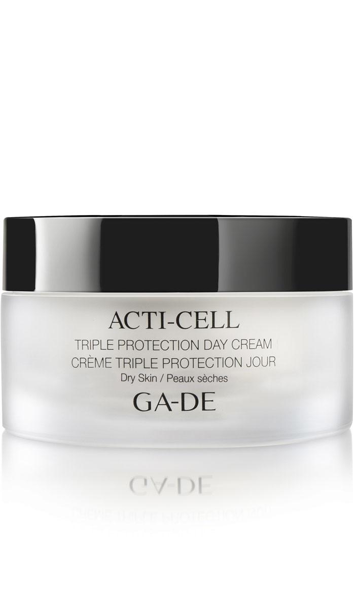 GA-DE Дневной крем с тройной защитой Acti-Cell (для сухой кожи) , 50 мл151000000Увлажнение-Детоксикация-Смягчение. Легкий крем с высокой концентрацией активных компонентов. Оказывает мгновенный эффект, со временем усиливающийся за счет накопления полезных компонентов в коже. Накапливаясь, полезные вещества, действуя постепенно, но поступательно, оказывают положительное воздействие на кожу. Проникает в средние слои кожи, выводит токсины, повышает эластичность кожи, защищает от внешних агрессоров и преждевременного старения. Адаптируется к изменениям климатических условий. Активные компоненты крема: Detoxicell (экстракт стволовых клеток кофе), Vitis Vita, Daphne Vitasence, Lycoskin Defence (экстракт стволовых клеток томата), гиалуроновая кислота.