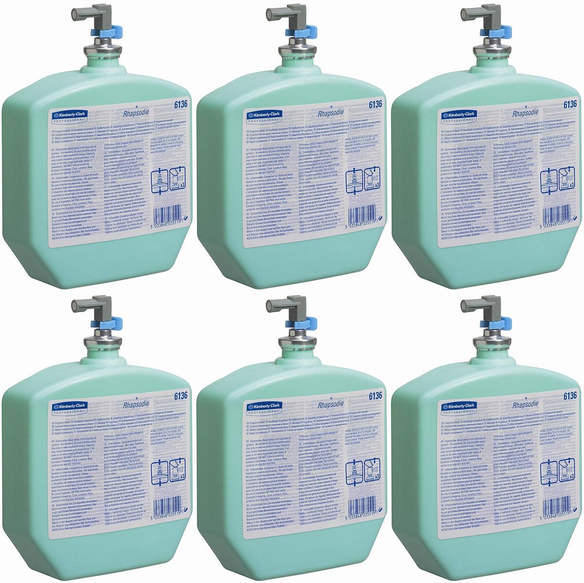 Освежитель воздуха Kimberly-Clark Professional Rhapsodie, 6 сменных блоков по 310 мл. 6136106-026Системы освежителей воздуха KIMBERLY-CLARK PROFESSIONAL® с дозатором могут быть запрограммированы для создания аромата, соответствующего Вашим предпочтениям.Идеальное решение для использования с диспенсерами RIPPLE® или AQUA® для освежителей воздуха; возможность настройки для создания необходимого аромата.Формат поставки: 6 картриджей по 310 мл пластиковая емкость с дозатором; аромат RHAPSODIE – нежный, с цитрусовыми нотами.