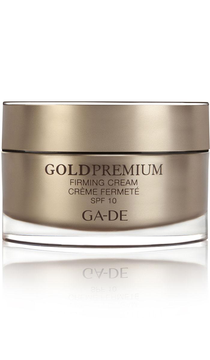 GA-DE Укрепляющий дневной крем Gold Premium spf 10, 50 мл147000000Скажи НЕТ - старению кожи. Нежный шелковистый крем комплексного действия, интенсивно обогащает кожу влагой, стимулирует выработку коллагена. SPF фактор защищает от вредного воздействия окружающей среды. Уникальная формула включает в себя защищающий комплекс, который благодаря своим свойствам и способностям укрепляет естественный защитный механизм кожи. Предотвращает потерю влаги, разрушение клеток и преждевременное старение кожи. Активные компоненты: Lifto Peptide, экстракты 3 растений: цветы японской жимолости, плод растения Ксантиум, корень Циперуса, гиалуроновая кислота.