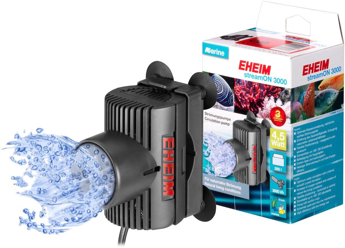 Помпа перемешивающая Eheim Stream-On 300012171996Помпа Eheim Stream-On 3000 представляет собой высокоэффективный лопастный насос для оптимальной циркуляции пресной или морской воды в аквариумах. Практичная конструкция позволяет не только выполнять настройку 3D-элементов, но и быстро, легко крепить насос в любом нужном месте аквариума. Апробированное качество гарантирует высокую надежность при незначительной потребности в техобслуживании и низкомэнергопотреблении.Использование насоса для течения в пресноводном аквариуме позволяет значительно улучшить окружающую среду за счет лучшего снабжения кислородом.Преимущества Eheim Stream-On 3000: - Подходит как для морской, так и для пресной воды.- Оптимальная циркуляция воды с естественным, плавным формированием тока.- Увеличение содержания кислорода в воде.- Имеет важное значение для кораллов в морской воде и полезно для рыб в пресной воде.- Гибкое позиционирование - горизонтальное или вертикальное.- Возможность поворота до 180 ° (с возможностью 3D).- Крепление присосками. - Тихий в работе.Мощность насоса в час при 50 Гц: до 3000 л. Объем аквариума: 250 л. Мощность от 50 Гц: до 4,5 Вт. Ширина: 61 мм. Высота: 90 мм. Глубина: 85 мм. Напряжение: 230 вольт. Частота: 50 Гц. Длина кабеля: 210 см.