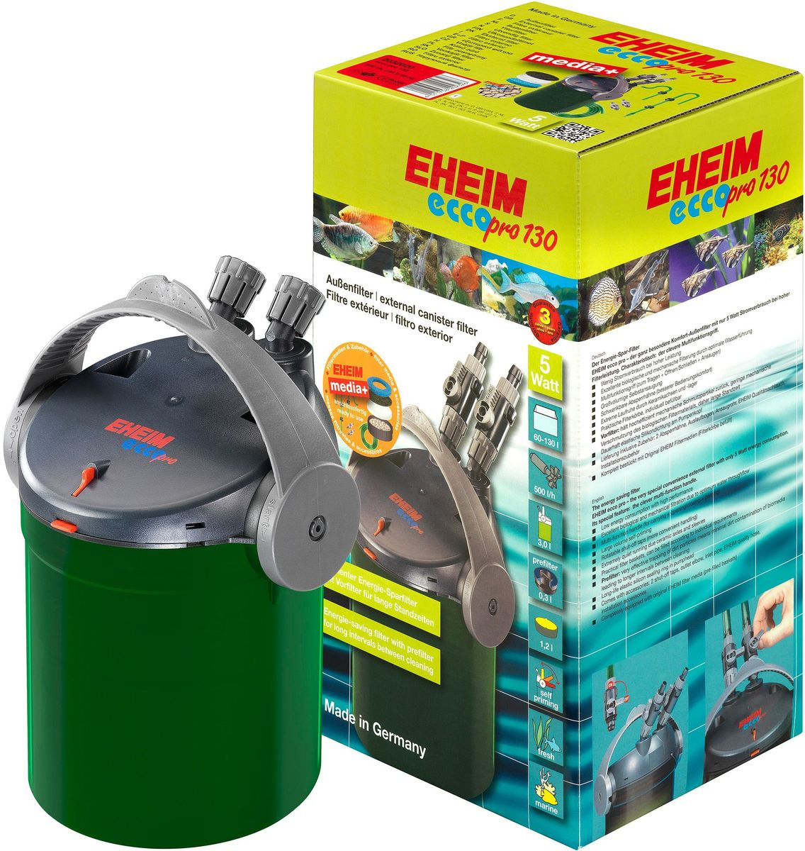 Фильтр внешний Eheim Eccopro 130100011Инновационные технологии в сочетании с простотой обслуживания и характерным дизайном выгодно отличают новое поколение фильтров Eheim. Практичная ручка для переноса выполняет множество функций: активизация встроенной системы запуска, которая обеспечивает удобную эксплуатацию при установке фильтра и после очистки; а также легкое открытие или надежное запирание фильтра. Фильтр укомплектован фильтрующими материалами и готов к эксплуатации. Благодаря практичным кассетам для фильтрующего материала, надежным штуцерам шлангов и запорным кранам фильтр прост в обслуживании. Сбалансированное соотношение мощности насоса и объема обеспечивает надежную долговременную фильтрацию при постоянной циркуляции воды, а также обогащает воду кислородом. Использованиеданного фильтра гарантирует высокое качество фильтрации воды. Преимущества Eheim Eccopro 130:- Низкое энергопотребление с высокой производительностью.- Отличная биологическая и механическая фильтрация благодаря оптимальному пропусканию воды.- Большой самовсасывающий объем.- Поворотные запорные краны (более удобное обращение).- Чрезвычайно тихий ход благодаря керамическим мостам и гильзам.- Практичные корзины для фильтров, могут быть заполнены в соответствии с индивидуальными требованиями. - Дополнительный предварительный фильтр (дающий более длительные интервалы очистки другого фильтрующего материала).- Долговечное эластичное силиконовое уплотнительное кольцо в головке насоса. Полностью оснащенный оригинальным фильтрующим материалом Eheim (предварительно заполненные корзины).Прилагаемые запорные краны можно поворачивать. Таким образом, вы можете сделать их более доступными. Поток воды регулируется выходным краном. Канистры фильтра оснащены практичными фильтрами. Их можно легко удалить и заполнить в соответствии с индивидуальными требованиями. Также в комплект входят: 2 запорных крана, выпускной локоть, входная труба, шланги, монтажные принадлежности.Для аквариумов: 60-130 л.Мощность насоса 