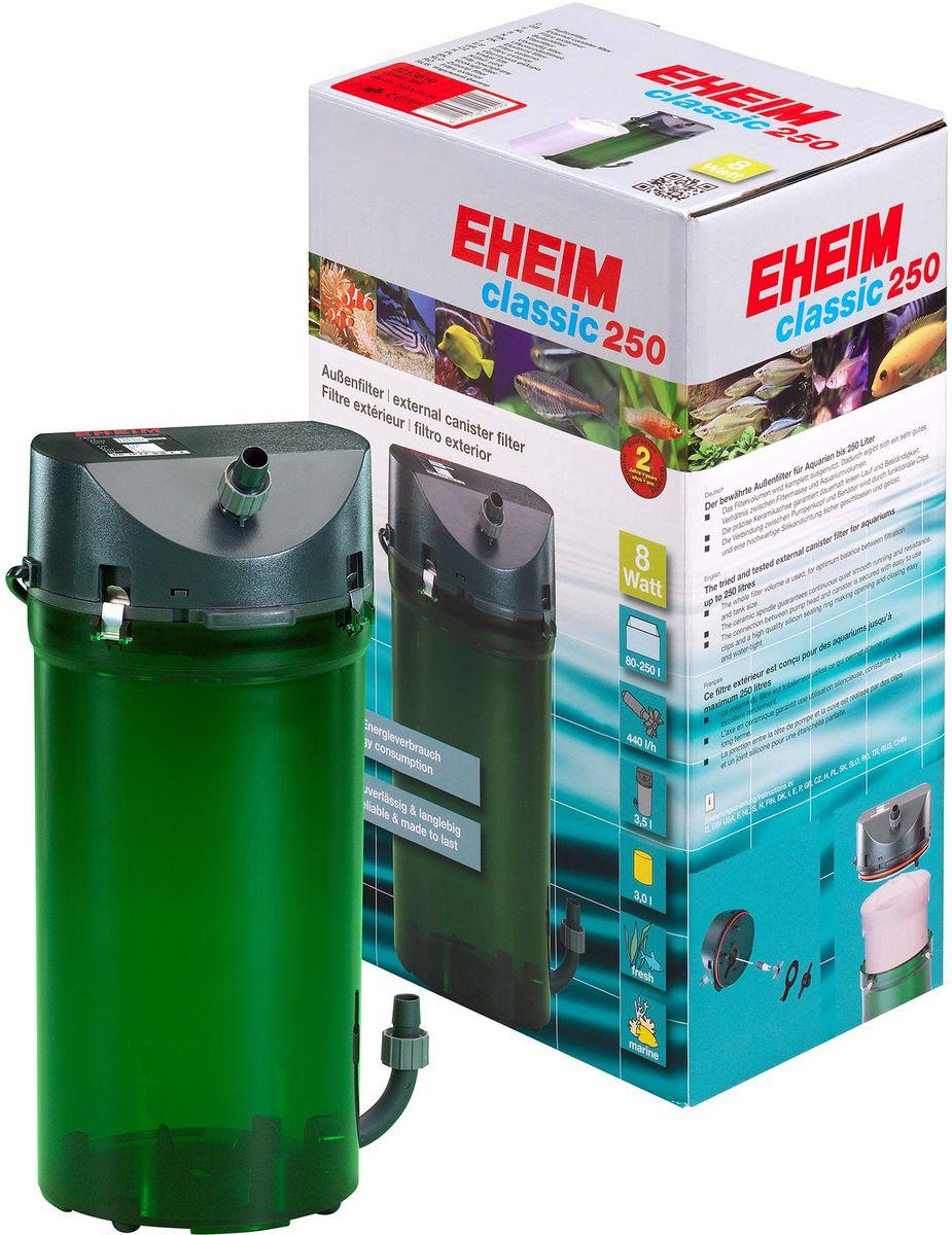 Фильтр внешний Eheim Classic 250, краны, губки8463Внешний фильтр Eheim Classic 250 надежная и проверенная стандартная линия фильтров с отличными механическими и биологическими фильтрующими свойствами.Фильтр тихий в работе с низким потреблением энергии. Долговечное гибкое силиконовое уплотнительное кольцо в головке насоса (для легкой и безопасной замены после очистки). Может быть заполнен фильтрами и / или свободными фильтрующими материалами. Поставляется с распылителем, впускной трубой, шлангом и установочными принадлежностями.Для аквариумов:80 - 250 л. Мощность насоса (50 Гц) в час:440 л. Насосная головка (H max при 50 Гц): 1,5 м. Мощность (50 Гц): 8 Вт.Объем фильтра: 3 л. Объем контейнера: 3,5 л. Высота: 355 мм. Диаметр фильтра: 160 мм. Высота установки: 180 см. Напряжение: 230 вольт. Диаметр шланга всасывания (внутри): 12 / 16 мм. Диаметр напорного шланга (внутри): 12 / 16 мм.
