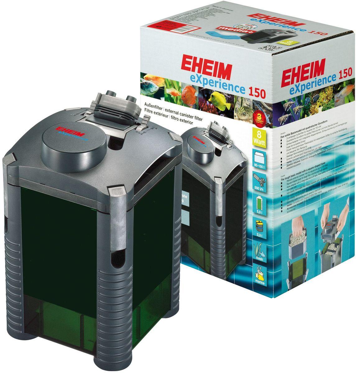 Фильтр внешний Eheim Experience 1502519051Внешний фильтр Eheim Experience 150 - базовая модель квадратной формы. Его форма позволяет устанавливать его на углы, занимая меньше места. Вместо отдельных соединителей для шлангов фильтр имеет полный адаптер для шлангов с 2 встроенными отводами. Адаптер можно легко снять и безопасно заменить рычагом (фиксирующим зажимом). Запорные краны можно регулировать индивидуально, чтобы регулировать поток воды. Канистра фильтра оснащена практичными фильтровальными корзинами. Они имеют складные ручки и могут быть легко удалены для удобства управления и удобной полной / частичной очистки. Компоненты из высококачественной керамики (оси и рукава рабочего колеса), обеспечивает очень тихую работу, высокую упругость и чрезвычайно длительный срок службы.При мощности 8 Вт с мощностью насоса 700 л/ч работает очень эффективно и имеет низкое потребление энергии.Для аквариумов: 80-150 л.Мощность насоса (50 Гц): 500 л/ч.Насосная головка (H max при 50 Гц): 1,3 м.Мощность (50 Гц): 8 ватт.Объем фильтра: 2,3 л.Объем контейнера: 5 л.Высота: 178 мм.Диаметр фильтра: 290 мм.Высота установки: 178 см.Напряжение: 230 вольт.Диаметр шланга всасывания (внутри): 12 / 16 мм.Диаметр напорного шланга (внутри): 12 / 16 мм.