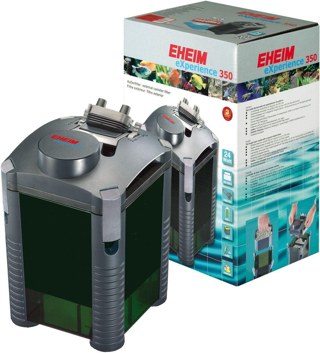Фильтр внешний Eheim Experience 35012171996Внешний фильтр Eheim Experience 350 - базовая модель квадратной формы. Его форма позволяет устанавливать его на углы, занимая меньше места. Вместо отдельных соединителей для шлангов фильтр имеет полный адаптер для шлангов с 2 встроенными отводами. Адаптер можно легко снять и безопасно заменить рычагом (фиксирующим зажимом). Запорные краны можно регулировать индивидуально, чтобы регулировать поток воды. Канистра фильтра оснащена практичными фильтровальными корзинами. Они имеют складные ручки и могут быть легко удалены для удобства управления и удобной полной / частичной очистки. Компоненты из высококачественной керамики (оси и рукава рабочего колеса), обеспечивает очень тихую работу, высокую упругость и чрезвычайно длительный срок службы.При мощности 8 Вт с мощностью насоса 700 л/ч работает очень эффективно и имеет низкое потребление энергии.Для аквариумов: 180-350 л.Мощность насоса (50 Гц): 1050 л/ч.Насосная головка (H max при 50 Гц): 2 м.Мощность (50 Гц): 24 ватт.Объем фильтра: 4,9 л.Объем контейнера: 9 л.Высота: 210 мм.Диаметр фильтра: 375 мм.Высота установки: 210 см.Напряжение: 230 вольт.Диаметр шланга всасывания (внутри): 16 / 22 мм.Диаметр напорного шланга (внутри): 16 / 22 мм.