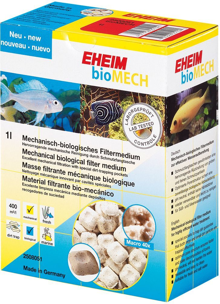 Наполнитель для фильтра Eheim Biomech, субстрат, 2 лART-2280010Наполнитель для фильтра Eheim Biomech представляет собой механический и биологический фильтрующий материал со специальной структурой поверхности, который как улавливает частички грязи, так и позволяет расселяться на ней важным бактериям. Для морских и пресноводных аквариумов.