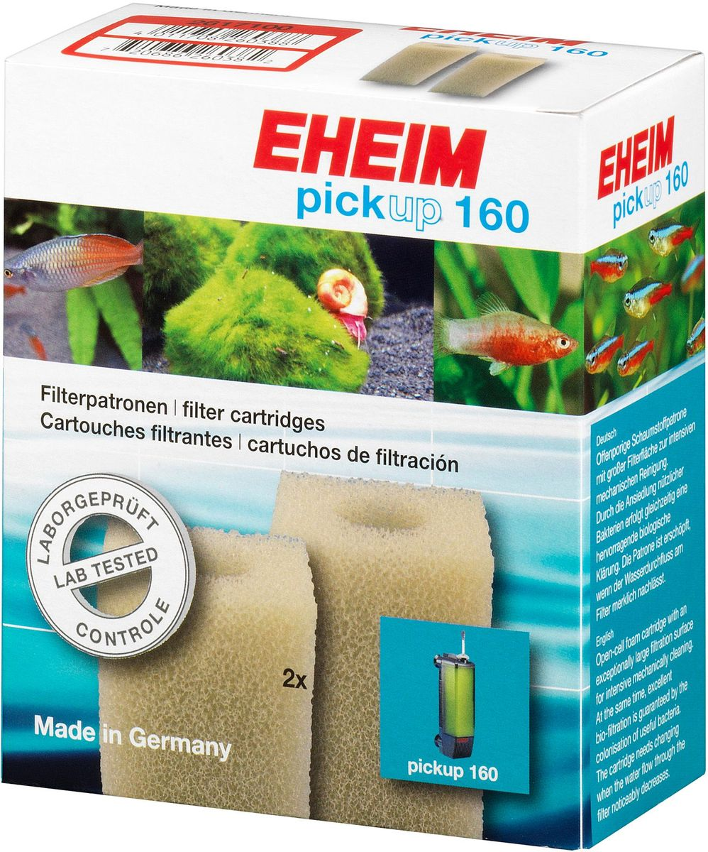 Картридж для фильтра Eheim Pickup 160, поролон, 2 шт0120710Картридж фильтрующий из пористой губки для фильтров PICKUP обеспечивает грубую очистку воды.