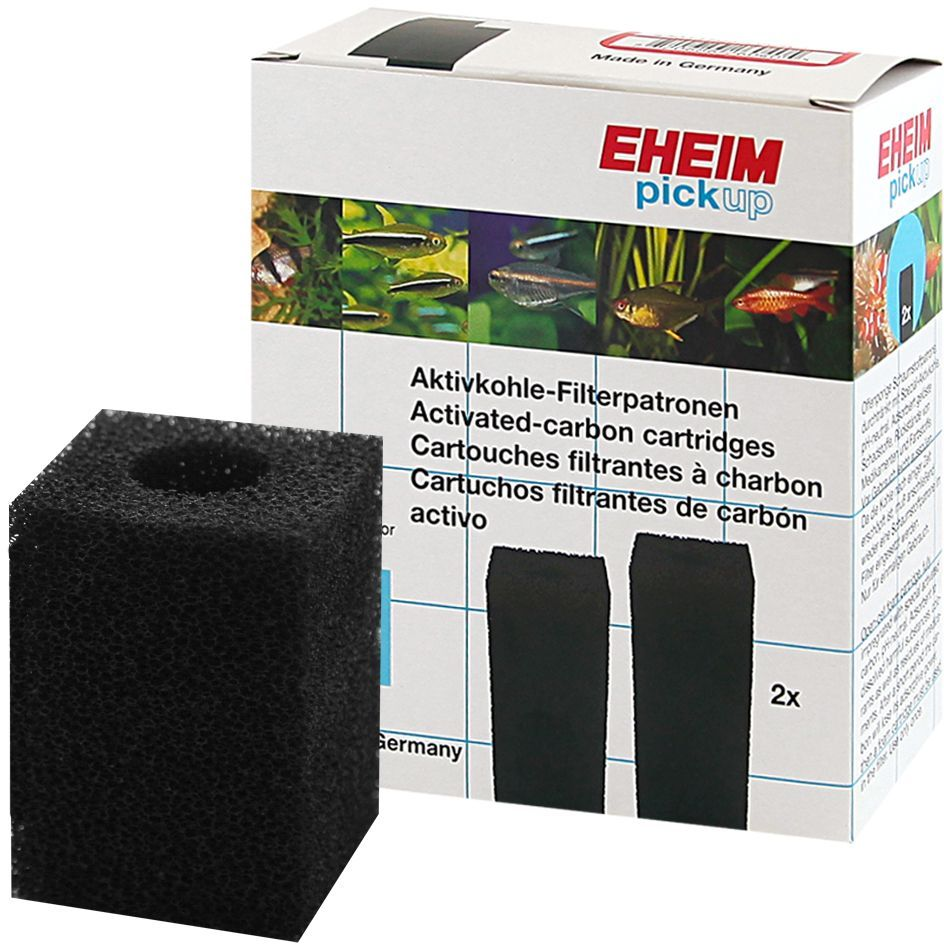 Картридж для фильтра Eheim Pickup 45, поролон угольный, 2 шт12171996Прямоугольный картридж Eheim Pickup 45 из пористой губки с активированным углем для фильтров Pickup применяется при запуске аквариума или после медикаментозного лечения.
