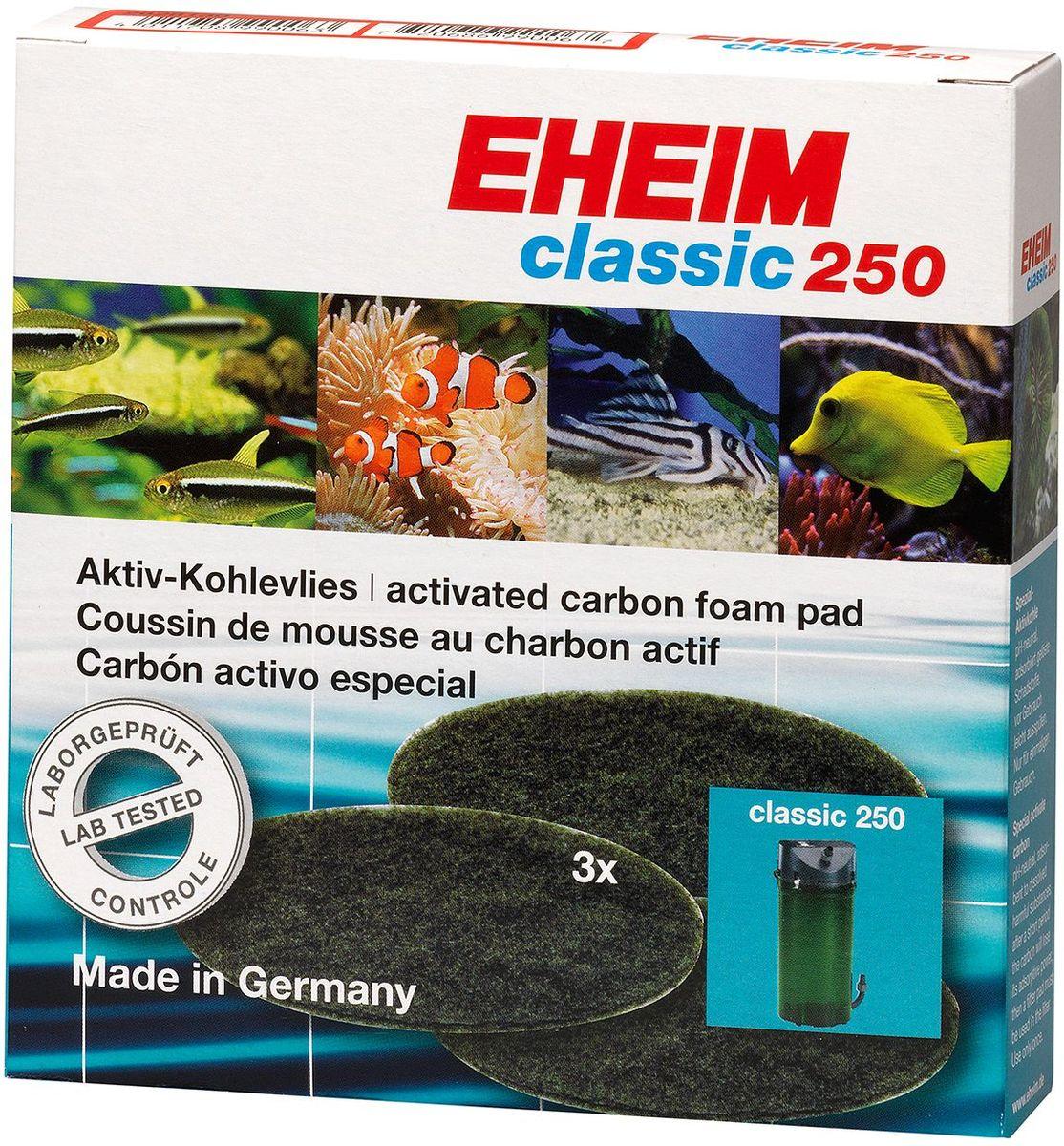 Наполнитель для фильтра Eheim Classic 250, угольный, 3 шт101246Пористая губка с активированным углем для фильтров Eheim Classic 250 применяется при запуске аквариума или после медикаментозного лечения. Эффективно удаляет вредные вещества-хлор, остатки лекарств.