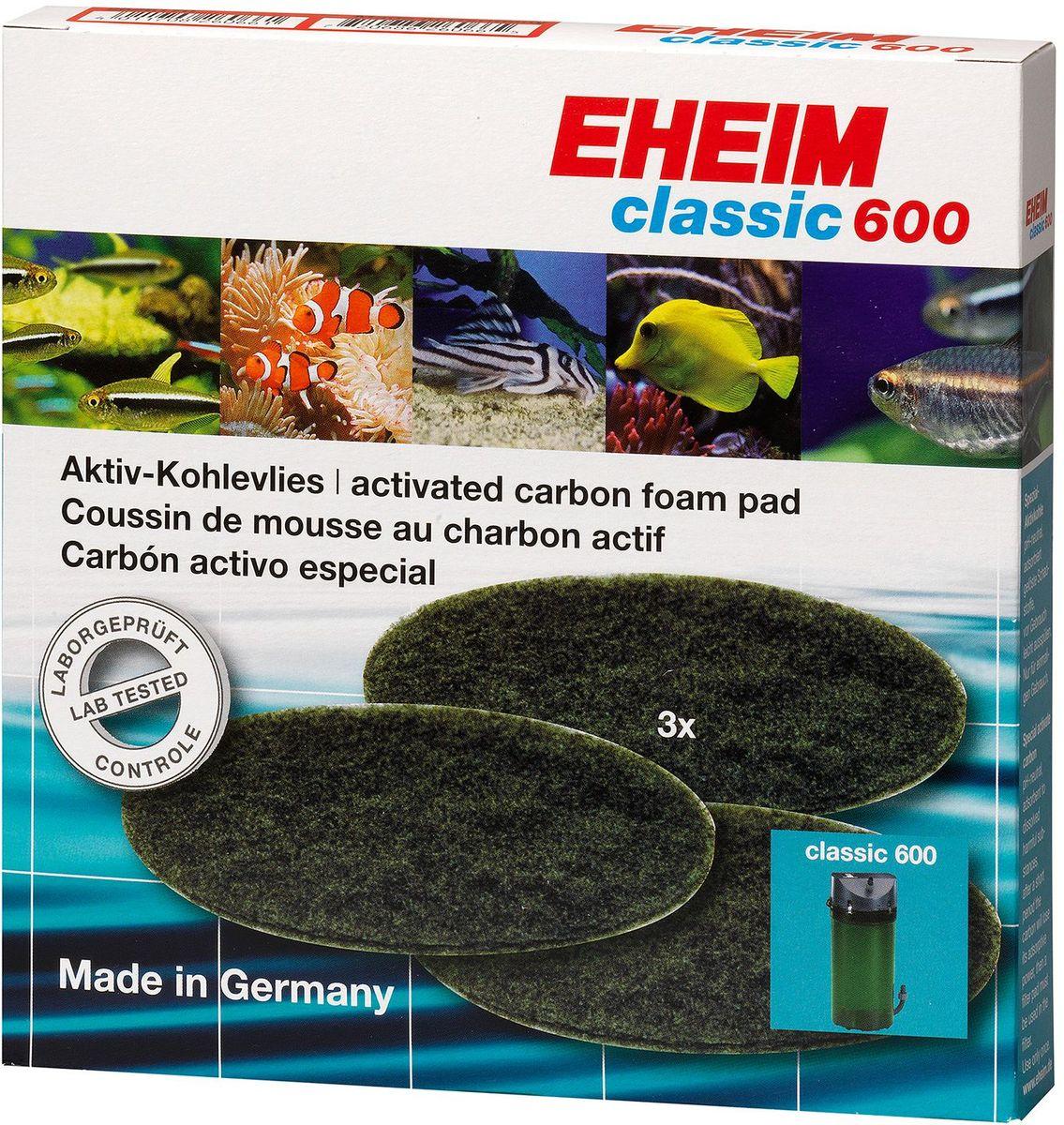 Наполнитель для фильтра Eheim Classic 600, угольный, 3 шт12171996Губка пористая с активированным углем для фильтров CLASSIC применяется при запуске аквариума или после медикаментозного лечения. Эффективно удаляет вредные вещества-хлор, остатки лекарств.