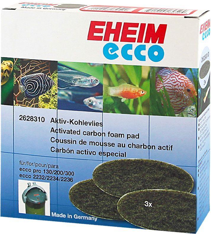 Наполнитель для фильтра Eheim Eccopro 130/200/300, угольный, 3 шт0120710Пористая губка с активированным углем для фильтров Eheim Eccopro 130/200/300 применяется при запуске аквариума или после медикаментозного лечения. Эффективно удаляет вредные вещества-хлор, остатки лекарств.