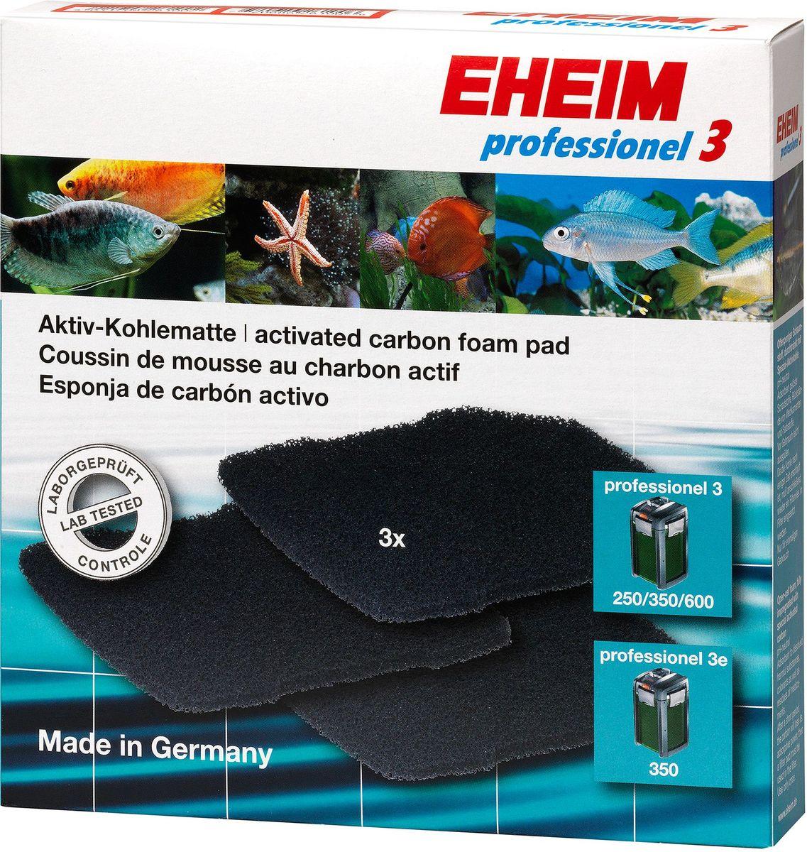 Наполнитель для фильтра Eheim Professionel 3 250/350/600, 3 шт0120710Набор угольных губок для фильтра Eheim Professionel 3. Используется для удаления вредных веществ: остатков лекарств, хлора.