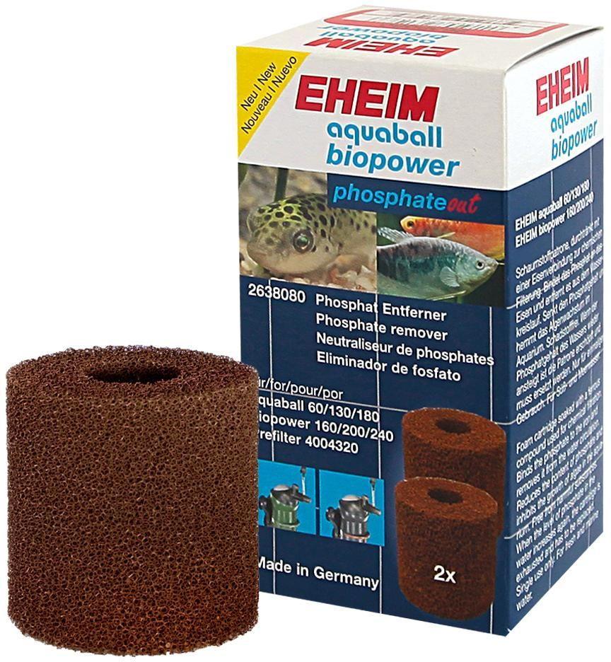Картридж для фильтра Eheim Aquaball Biopower, фосфат, 2 шт500031Картридж Eheim Aquaball Biopower из пористой губки обработанный специальным железом для фильтров Aquaball 60/130/180 и Biopower160/200/240 эффективно ограничивает содержание фосфатов в воде.