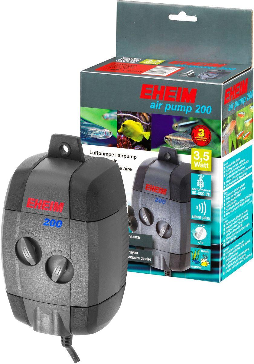 Компрессор для аквариума Eheim Air Pump 2003702010Компрессор для аквариума Eheim Air Pump 200 служит для насыщения воды в аквариуме кислородом, эксплуатации фильтров или декоративных элементов, работающих от воздуха, или для создания водяного потока. Воздушный поток можно регулировать на каждом выходе насоса, а также на каждом диффузоре. Это позволяет вам настроить свой собственный эффект пузырьков. Виброгасящие резиновые обкладки способствуют бесшумной работе насоса. Воздушный насос остается неподвижным и не блуждает. Вы можете повесить его вертикально на стекло аквариума благодаря специальному крючку. Необходимо регулярно менять войлочную прокладку диффузора.Производительность насоса в час при 50 Гц: 200,00 л.Насосная головка при 50 Гц (H max): 2,00 м.Мощность при 50 Гц: 3,50 Вт.Ширина: 89,00 мм.Высота: 152,00 мм.Глубина: 71,00 мм. Напорная сторона шланга: 4,00 мм.Частота: 50 Гц.