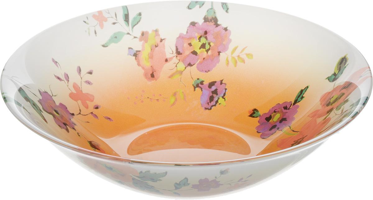 Салатник Luminarc Maritsa Orange, диаметр 16,5 смJ7688Великолепный круглый салатник Luminarc Maritsa Orange, изготовленный из ударопрочного стекла, прекрасно подойдет для подачи различных блюд: закусок, салатов или фруктов. С внутренней стороны изделие оформлено оригинальным цветочным принтом. Такой салатник украсит ваш праздничный или обеденный стол, а оригинальное исполнение понравится любой хозяйке. Бренд Luminarc - это один из лидеров мирового рынка по производству посуды и товаров для дома. В основе процесса изготовления лежит высококачественное сырье, а также строгий контроль качества. Товары для дома Luminarc уважают и ценят во всем мире, а многие эксперты считают данного производителя эталоном совершенства. Диаметр салатника (по верхнему краю): 16,5 см.