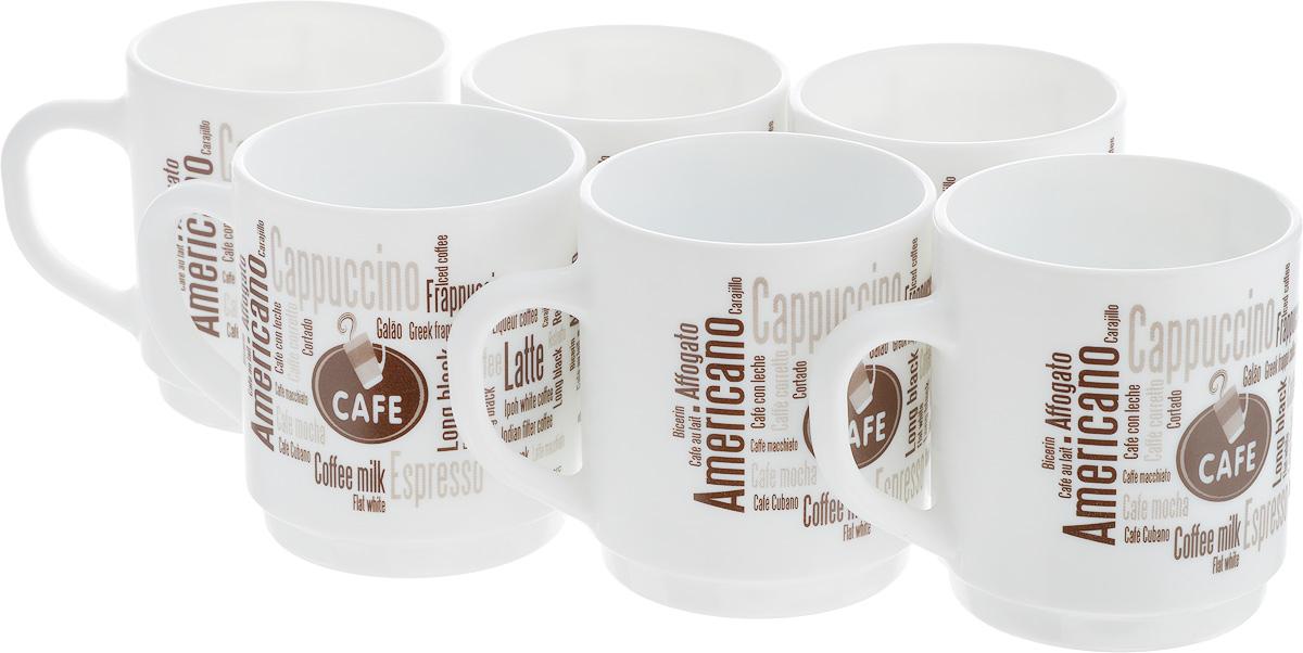 Набор кружек Luminarc Coffeepedia, 290 мл, 6 шт391602Набор Luminarc Coffeepedia состоит из шести кружек. Предметы набора изготовлены из высококачественного стекла и обладают высокой степенью прочности, устойчивостью к царапинам и резким перепадам температур.Кружки оформлены оригинальными надписями в кофейной тематике. Чайный набор яркого и лаконичного дизайна, украсит интерьер кухни и сделает ежедневное чаепитие настоящим праздником. Можно использовать в микроволновой печи, и мыть в посудомоечной машине. Бренд Luminarc - это один из лидеров мирового рынка по производству посуды и товаров для дома. В основе процесса изготовления лежит высококачественное сырье, а также строгий контроль качества. Товары для дома Luminarc уважают и ценят во всем мире, а многие эксперты считают данного производителя эталоном совершенства.Объем чашек: 290 мл.Диаметр чашек (по верхнему краю): 7,8 см.Высота чашек: 8,5 см.