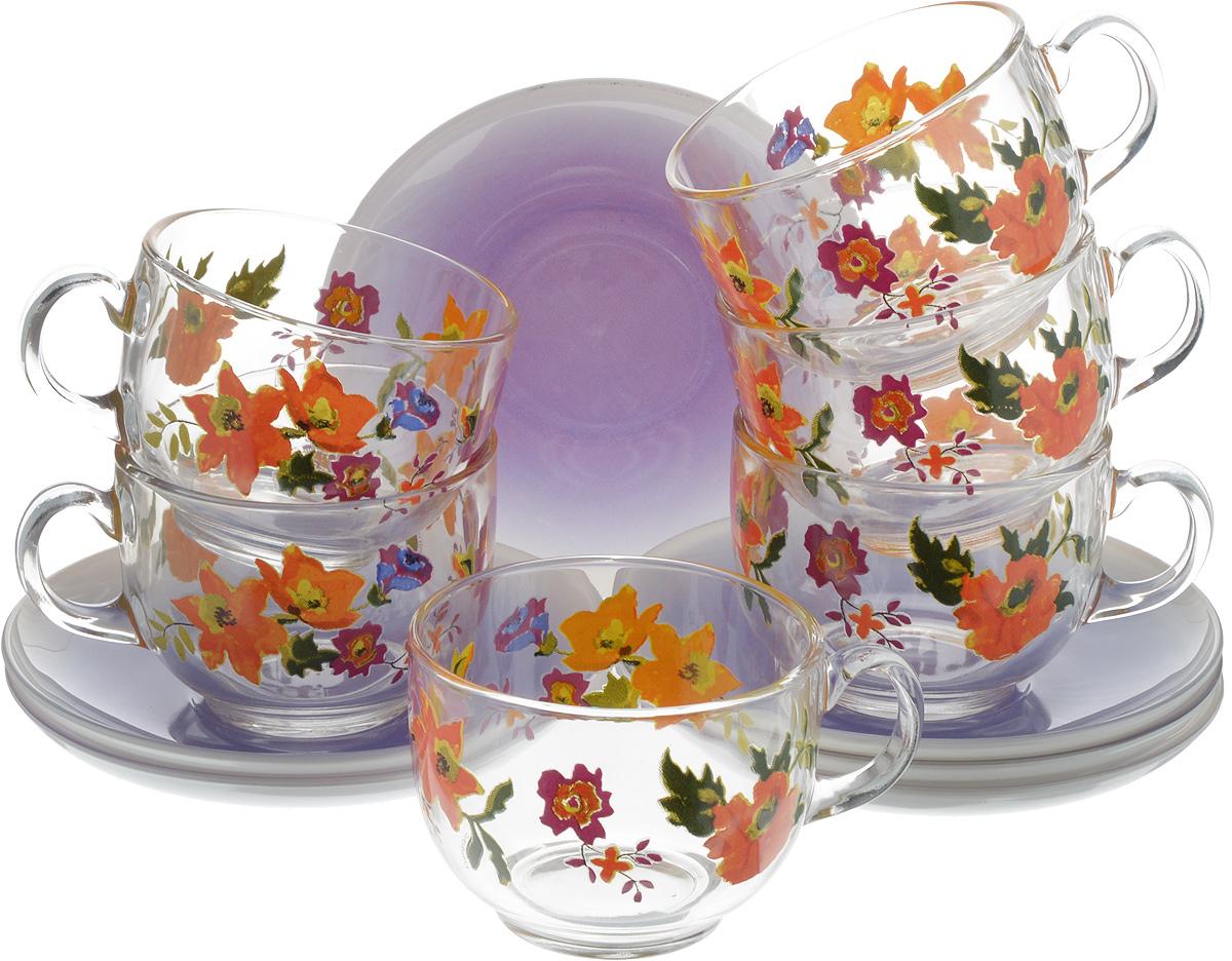 Набор чайный Luminarc Marisa Purple, 12 предметовVT-1520(SR)Чайный набор Luminarc Marisa Purple состоит из шести чашек и шести блюдец. Предметы набора изготовлены из высококачественного стекла и обладают высокой степенью прочности, устойчивостью к царапинам и резким перепадам температур.Чайный набор яркого и лаконичного дизайна, украсит интерьер кухни и сделает ежедневное чаепитие настоящим праздником. Можно использовать в микроволновой печи, и мыть в посудомоечной машине. Бренд Luminarc - это один из лидеров мирового рынка по производству посуды и товаров для дома. В основе процесса изготовления лежит высококачественное сырье, а также строгий контроль качества. Товары для дома Luminarc уважают и ценят во всем мире, а многие эксперты считают данного производителя эталоном совершенства.Объем чашек: 220 мл.Диаметр чашек (по верхнему краю): 8 см.Высота чашек: 6 см.Диаметр блюдец: 13,5 см.