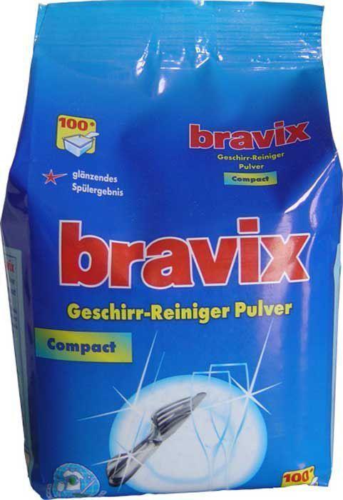 Порошок для мытья посуды Bravix, для посудомоечных машин, 100 моек, без фосфатов, концентрат, 1,8 кг391602Специальное суперэффективное средство для мытья посуды в посудомоечных машинах без хлора и фосфатов. Порошок для посудомоечных машин Bravix обеспечивает кристальную чистоту посуды, специальные компоненты на основе кислорода расщепляют остатки пищи, удаляют застарелые пятна. Порошок для посудомоечных машин Бравикс моет до блеска даже в жесткой воде, пригоден для всех типов ПММ. Применение: для ПММ вместимостью 10-12 персон засыпать в отсек для моющего средства 18 г порошка. Состав: менее 5% неанионные тензиды, поликарбоксилат, 5-15% кислородный отбеливатель