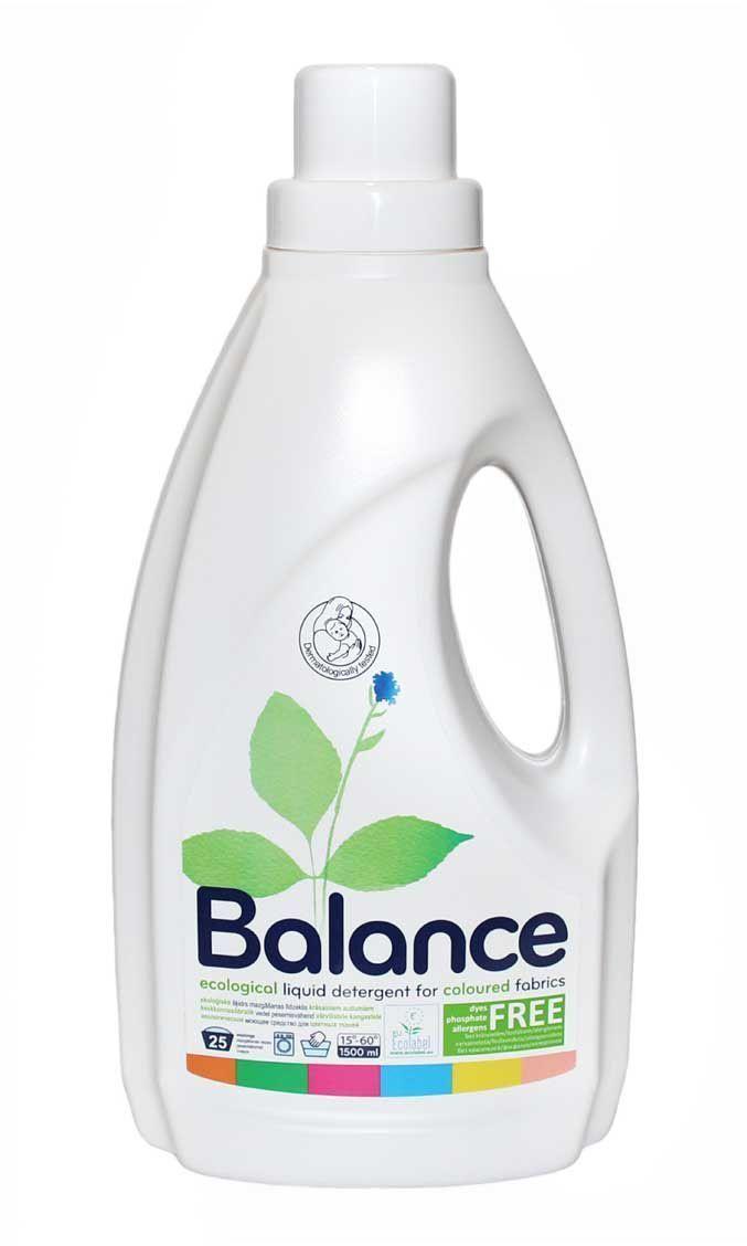 Эко-гипоаллергенное жидкое средство для стирки Balance, для цветного белья, на 30 стирок, 1,5 л531-402Экологическое моющее средство для цветных тканей, 25 стирок, 1,5 л. Не содержит красителей и ароматизаторов. Не содержит фосфатов. Рекомендовано дерматологами для стирки детской одежды, а также одежды людей с чувствительной кожей и кожей, склонной к аллергии. Безопасно и эффективно отстирывает все виды тканей при 15-60°C температуре. Не повреждает ткань и помогает сохранить цвет. Легко биологически расщепляется при контакте с окружающей средой. Дерматологически проверено. Назначение: средство предназначено для стирки цветных тканей всех видов: хлопка, льна, шелка, шерсти, вискозы, нейлона и др. Подходит как для ручной, так и для стирки в автоматической машине. Применение: стирайте при как можно более низкой температуре все возможное количество белья. При наличии инфекционных заболеваний или аллергии на домашнюю пыль, стирайте при температуре до 60°C. Следуйте инструкциям дозирования (см. таблицу ниже), так как это будет способствовать уменьшению загрязнения воды, отходов и потребления энергии. Состав: : 5-15 % анионных ПАВ, <5 % неионогенные ПАВ, <5 % мыла, ферменты, консервант (benzisothiazolinone, laurylamine dipropylenediamine).