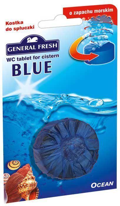 Очиститель-освежитель General Fresh WC. Blue, для смывного бачка, таблетка, 1 шт. 541000GC204/30Без особых хлопот обеспечит гигиеническую чистоту, и свежесть вашего туалета в течение длительного времени. Тройного действия. 1. Очищает поверхность унитаза, предотвращая образование известкового налета. 2. Уничтожает бактерии даже в труднодоступных местах. 3. Создает обильную пену и стойкий свежий аромат при каждом сливе воды