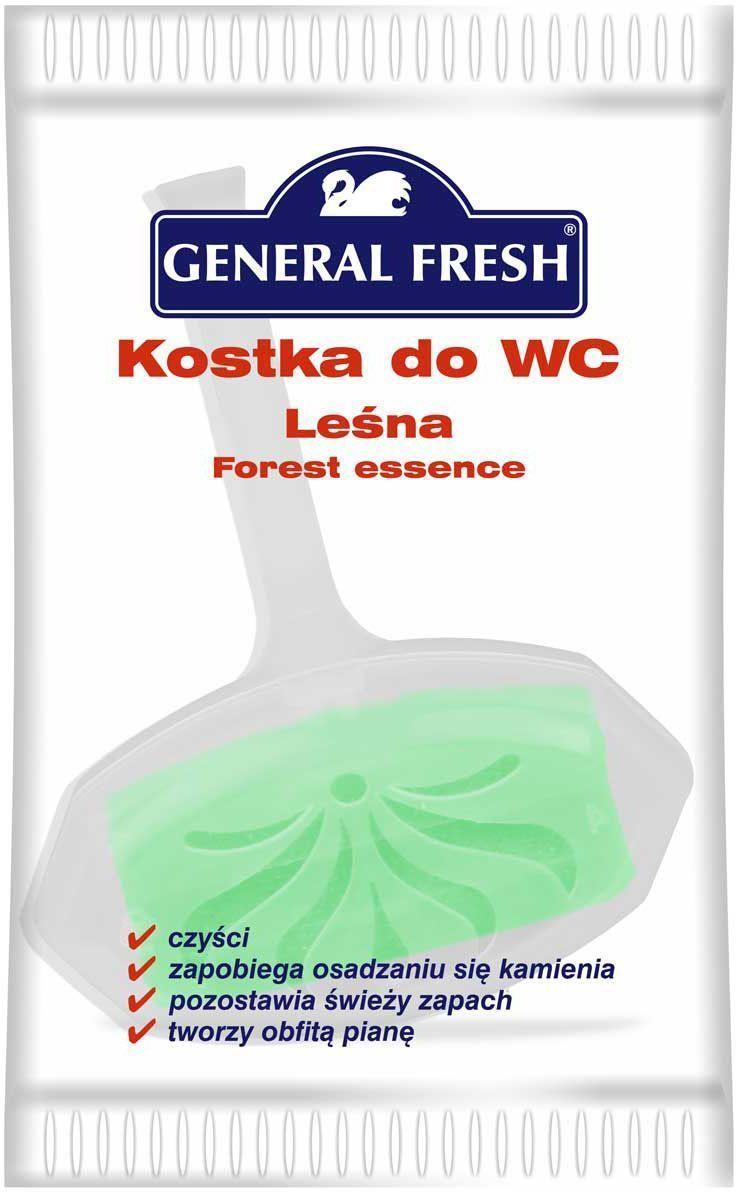 Подвеска для унитазов General Fresh Kostka do WC, в целлофане, 1 шт. 560100GC013/00Моющее и освежающее средство для унитаза длительного действия с различными ароматами. Закрепляется за край унитаза и при каждом смыве моет и дезинфицирует поверхность, ароматизируя воздух. Убивает бактерии, предотвращает образование отложений в труднодоступных местах.