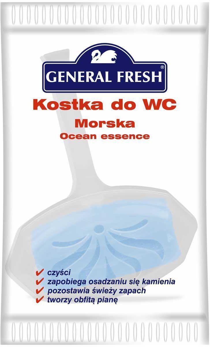 Подвеска для унитазов General Fresh Kostka do WC, в целлофане, 1 шт. 561010391602Моющее и освежающее средство для унитаза длительного действия с различными ароматами. Закрепляется за край унитаза и при каждом смыве моет и дезинфицирует поверхность, ароматизируя воздух. Убивает бактерии, предотвращает образование отложений в труднодоступных местах.