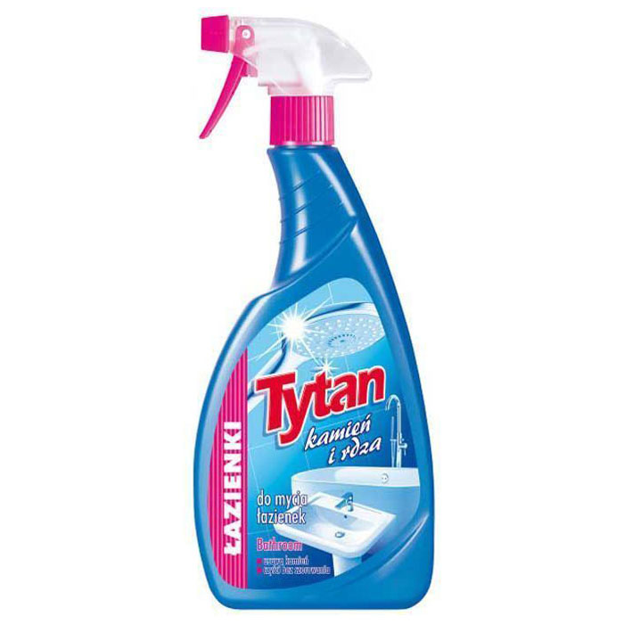 Спрей Tytan Камень и ржавчина, для мытья ванных комнат, 500 мл702786Жидкость эффективно удаляет минеральный осадок, ржавчину, мыльные и водные затеки, жирные пятна и прочие загрязнения. Предназначена для мытья керамической плитки, терракоты, стекла, пластмассы (кабин душа). Также может использоваться для мытья хромированных поверхностей, нержавейки (раковины), столешниц, вытяжек, умывальников, ванн. Жидкость легко смывается, убираемым поверхностям придает блеск, а, кроме того, оставляет свежий и приятный запах.