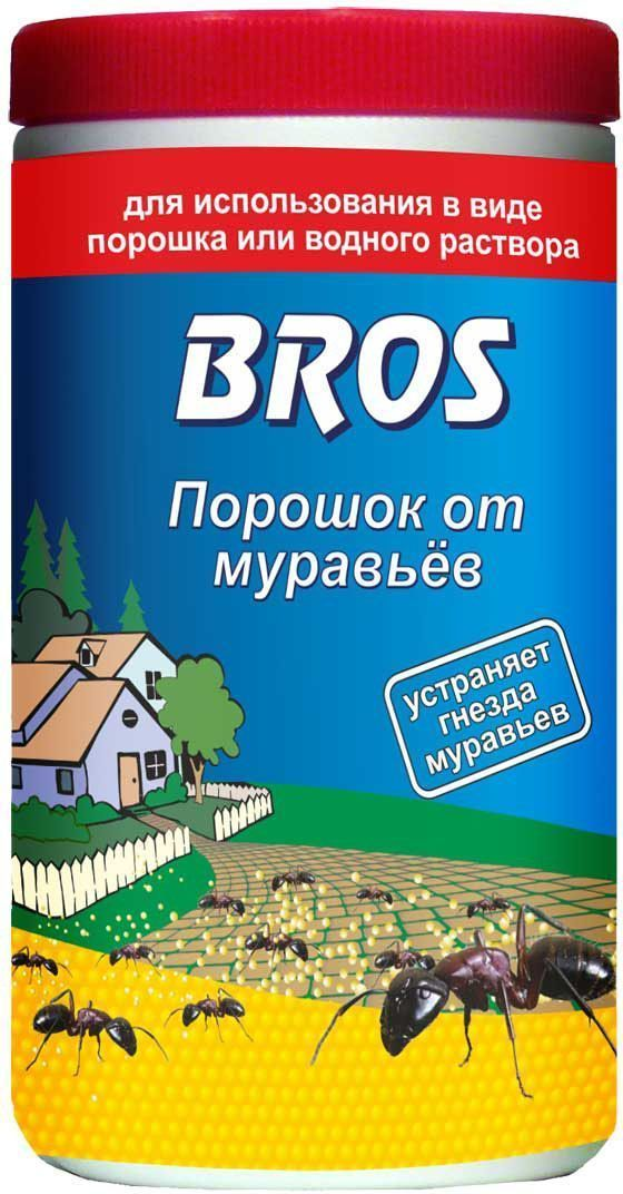 Порошок от муравьев BROS, 100 г706862BROS Порошок от муравьев. Препарат для борьбы с муравьями в форме гранулированной пищевой отравы. Специально подобранные составляющие делают препарат исключительно привлекательным для насекомых и обеспечивают его высокую эффективность уже после первого применения. Универсальный порошок для борьбы с муравьями. Используется как в сухом виде для посыпания, так и в растворенном виде для поливки (полностью растворим). 100 гПорошок от белого до серого цвета с характерным запахом для уничтожения муравьев в помещениях и в непосредственной близости от них (на террасах, в беседках и др.). Для использования в виде порошка или водного раствора. Применение: Порошок для посыпки: рассыпать тонким слоем (ок. 10 г/м2) около гнезд и на путях передвижения, трещинах, щелях и швах, откуда будет перенесен в гнездо уничтожая колонию.Жидкость для полива: порошок развести в воде, тщательно помешивая, из расчета 100 г на 2,5 л воды. Обработку проводить сразу после приготовления раствора. Трещины, щели, швы и гнезда муравьев полить приготовленным раствором. Также необходимо обработать все пути подхода к муравьиному гнезду. Не обрабатывать места (пол, лестницы и т.п.) частого передвижения людей. Средство рекомендуется применять утром или вечером, когда все муравьи собраны в гнезде. При контакте с обработанной поверхностью насекомые погибают через 24 часа.Состав: хлорпирифос 2% (2 г / 100 г), денатоний бензоат (битрекс), пищевые наполнители и другие технологические компоненты.