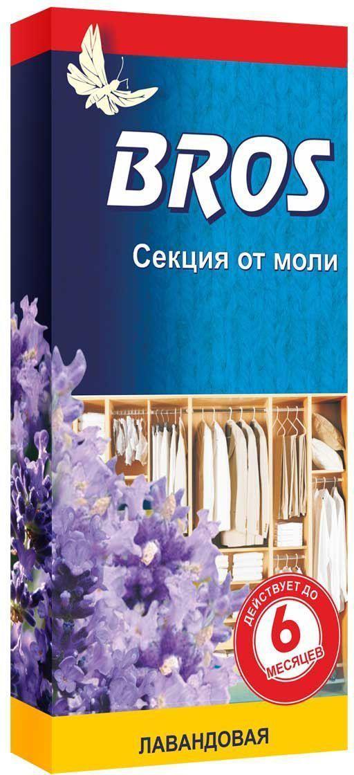 Секция от моли BROS, с запахом лаванды, 1 шт.BH-SI0439-WWBROS Секция от моли с запахом лаванды для применения в гардеробах, шкафах и ящиках. Эффективно защищает от моли (до 6 месяцев). Придает одежде приятный и свежий запах. Картонная пластина, пропитанная инсектицидным раствором, с запахом лаванды. Назначение: для защиты шерсти, меха и изделий из них, от повреждения молью и ее личинками в быту.Применение: Достать средство из упаковки. Разместить секцию в шкафу, гардеробе, ящике. Одна пластина защищает шкаф объемом до 1 м3 в течении 6 месяцев. Состав: эмпентрин 250 мг/шт., функциональные и технологические компоненты.