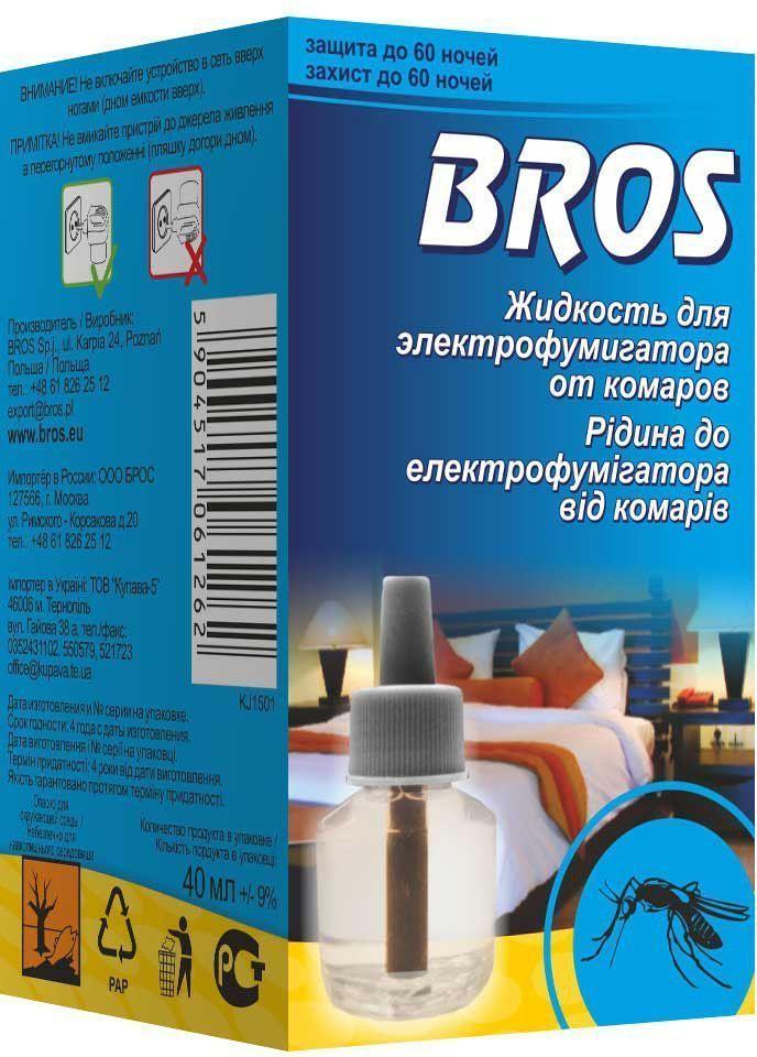Жидкость к электрофумигатору BROS, от комаров, на 60 ночей, 1 шт.BH-SI0439-WWBROS Жидкость к электрофумигатору от комаров 60 ночей. Инсектицидная жидкость для пользования вместе с электрофумигатором для уничтожения комаров и для защиты помещений от летающих насекомых. Работает даже при открытых окнах. Длительный эффект препарата обеспечивает безмятежный отдых во время летних ночей. 1 штПрозрачная жидкость в полимерном флаконе. Для уничтожения комаров и других летающих насекомых (москитов, мошек) в помещениях в практике медицинской дезинсекции специалистами организаций, имеющих право заниматься дезинфекционной деятельностью, и в быту. Защищает помещение до 20 м2 (около 50 м3) в течение 60 ночей при применении 8 часов в день. Оптимальная защита начинается уже через 30 мин. после включения.Применение: Достать из упаковки флакон с жидкостью, снять защитный колпачок, ввернуть флакон в электрофумигатор до упора и включить его в электросеть (220 V) при вертикальном положении флакона. При открытых окнах или форточках электрофумигатор с жидкостью можно оставить включенным на всю ночь для уничтожения насекомых, залетающих в помещение. Электрофумигатор выключить, флакон вывинтить и закрыть защитным колпачком, сохранить в упаковке для следующего использования. Один флакон объемом 40 мл рассчитан на работу в течение примерно 480 часов.Состав: праллетрин 1% (1 г/ 100 г), функциональные и технологические компоненты.