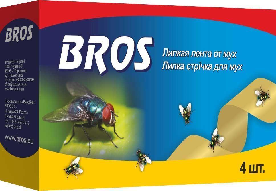 Лента от мух BROS, висячие, 4 шт.66701800BROS Висячие ленты-мухоловы. Не содержит инсектицидных веществ. Формула невысыхающего клея обеспечивает долговременную эффективность при различной температуре и влажности. Лента защищает также от фруктовых мушек и пищевой моли. 4 штЛипкая лента от мух для уничтожения мух в помещениях.Применение: Перед применением разогреть ленту в руках. Медленно при легком поворачивании вытянуть ленту за петлю из упаковки. Подвесить ленту в местах наибольшего скопления мух из расчета 1 - 2 ленты в помещении площадью 15 м2. Ленты можно применять в присутствии людей, домашних животных, птиц, рыб.Состав: ароматические алифатические смолы, функциональные и технологические компоненты. Не содержит инсектицидов.