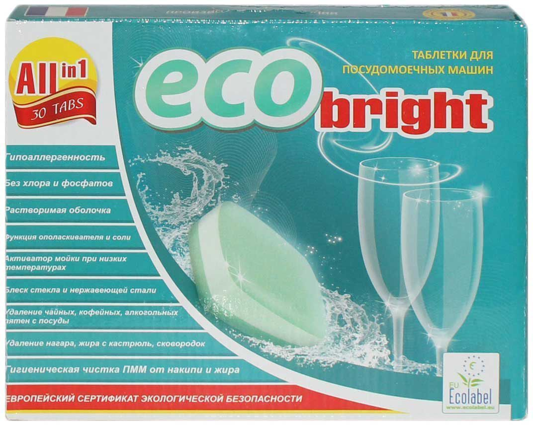 Эко-таблетки для посудомоечных машин EcoBright Все в Одном, растворимая пленка, 30 таблеток134-5Таблетки для ПММ (трехслойные) Все в Одном произведены французской компанией ORAPI INTERNATIONAL в соотвествии с европейскими стандартами качества и обеспечены сертификатом экологической безопасности EU ECOLABEL. Химический состав продукции сохраняет высокую эффективность даже при заниженных (менее 55°С) температурных режимах использования. Таблетки удаляют плотный жир со стекла и металла, нагар с кастрюль и сковородок; смывают кофейные, чайные, винные налеты; ополаскивают посуду до сияния и блеска; защищают от накипи нагревательные элементы машины. Таблетки выполняют функцию соли и ополаскивателя, оболочка таблетки полностью растворяется в водеЗолотая медаль международной выставки ИНТЕРБЫТХИМ-2014 в конкурсе на лучший продукт. Применение: Положить одну таблетку в отсек ПММ для моющего средства, не вскрывая оболочки.