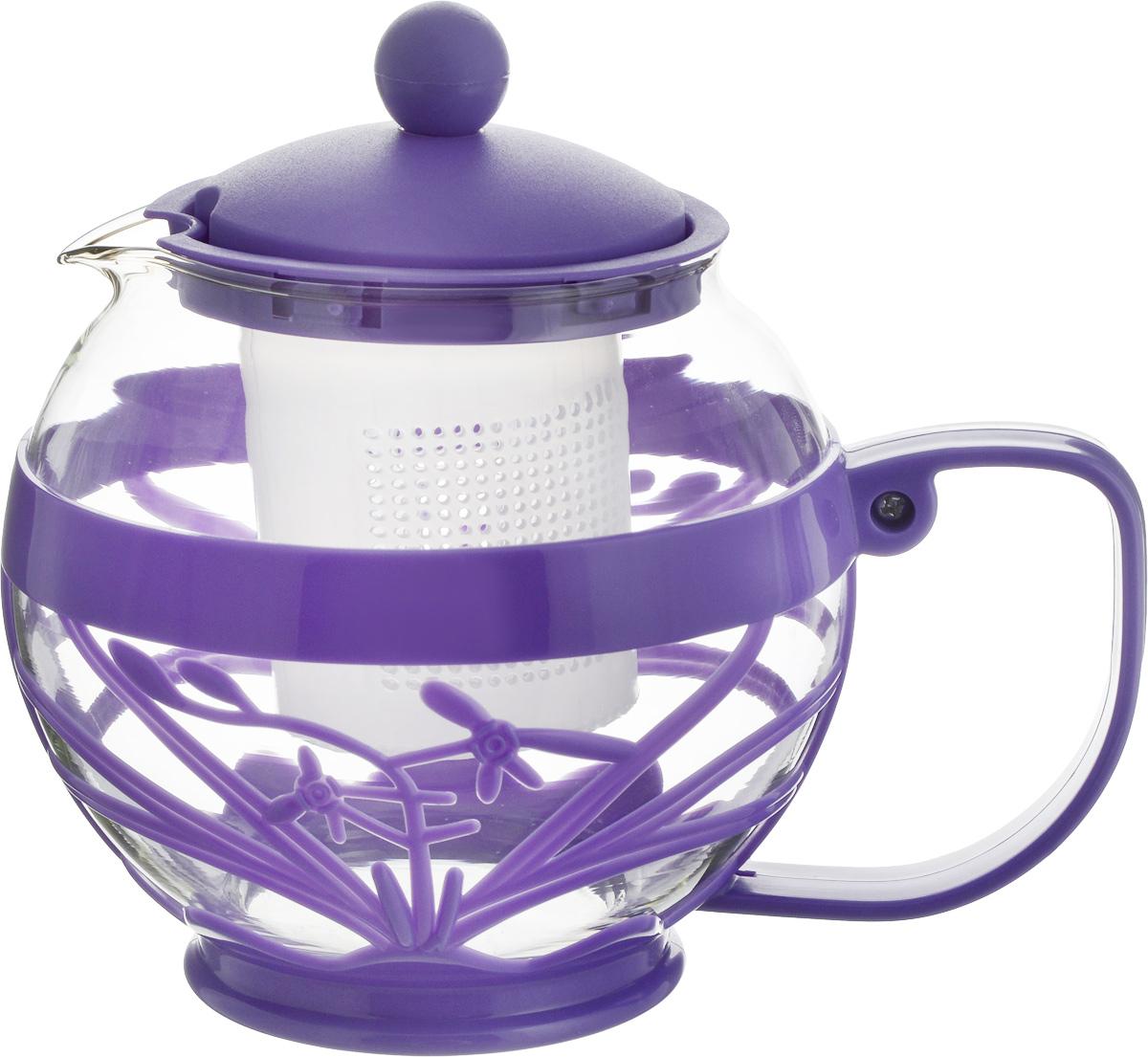 Чайник заварочный Wellberg Aqual, с фильтром, цвет: прозрачный, фиолетовый, 800 мл68/5/4Заварочный чайник Wellberg Aqual изготовлен из высококачественного пластика и жаропрочного стекла. Чайник имеет пластиковый фильтр и оснащен удобной ручкой. Он прекрасно подойдет для заваривания чая и травяных напитков. Такой заварочный чайник займет достойное место на вашей кухне.Высота чайника (без учета крышки): 11,5 см.Высота чайника (с учетом крышки): 14 см. Диаметр (по верхнему краю) 7 см.Высота сито: 6 см.
