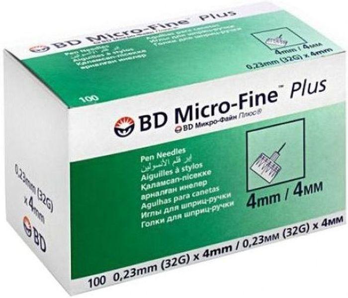 Иглы для шприц-ручки BD Micro-Fine Plus, 0,23 мм (32G) х 4 мм, 100 шт1720Одноразовые иглы для шприц-ручек. Инсулиновые иглы универсальные и подходят ко всем типам шприц-ручек.Длина иглы 4 мм.Диаметр 0,23мм (32G).Данный размер иглы подходит новорожденным и маленьким детям.
