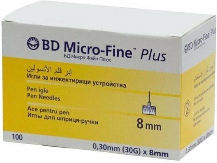 Иглы для шприц-ручки BD Micro-Fine Plus, 0,30 мм (30G) х 8 мм, 100 шт101010509169Одноразовые иглы для шприц-ручек. Инсулиновые иглы универсальные и подходят ко всем типам шприц-ручек.Длина иглы 8 мм. Толщина иглы 0,30мм (30G)