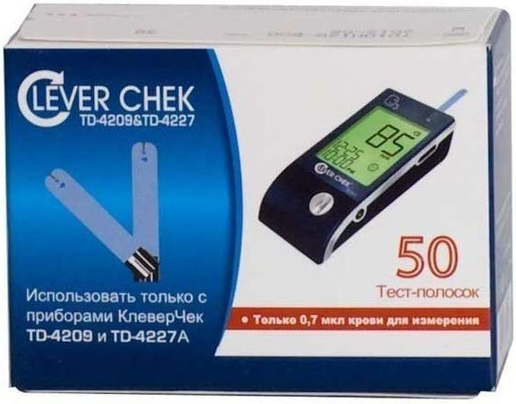 Тест-полоски универсальные CleverChek TD-4209/4227, 50 штБУ-00000316Тест-полоски Клевер Чек (Clever Chek) универсальные, 50 штук в упаковке.Для глюкометров Клевер Чек TD-4209 и Клевер Чек TD-4227. Можно не бояться перепутать тест-полоски. Теперь они единые для всей линии приборов Клевер Чек. Удобный забор крови - впитывающая лунка расположена вверху тест-полоски.Для глюкометров Клевер Чек TD-4227A тест-полоски не изменились, использовать обычным способом (электронный кодирующий чип - НЕ использовать).Иструкция для глюкометров Клевер Чек TD-4209: Перед первым тестированием крови необходимо первым вставить в прибор кодирующий электронный чип, который находится в упаковке тест-полосок. Каждый раз при проведении тестирования следует проверять, соответствует ли код, который показывает прибор, тому коду, который указан на флаконе с тест-полосками. Введите тест-полоску в тестовое гнездо тем концом, на котором находятся контактные полосы, лицевой стороной вверх. Полоска должна быть введена в прибор на всю длину контактных полос, в противном случае результат анализа может быть неверным. Прибор включится автоматически. На дисплее появятся надпись CHK и изображение полоски. Затем высветится температура окружающей среды и последуют изображение капельки крови и код тест-полоски. Поднесите каплю крови к впитывающей лунке тест-полоски. Результат анализа уровня глюкозы в крови появится после того, как прибор произведет отчет времени в обратном порядке.