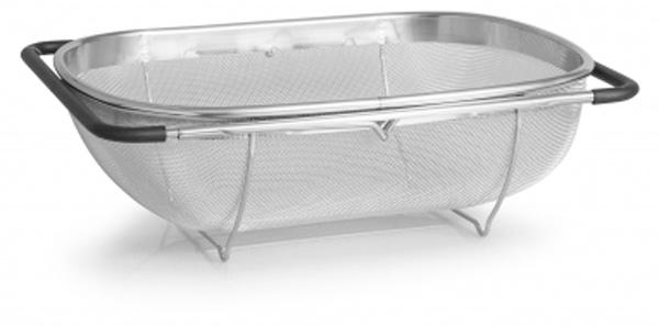 Корзина Attribute Steel Touch, в раковину , 34 х 24 см115510Корзина Attribute Steel Touch предназначена для сушки овощей и фруктов. Она оснащена раздвижными ручками, что обеспечивает крепление на раковину шириной не более 54 сантиметров. Благодаря высококачественному материалу изготовления данная модель прослужит вам долгое время.