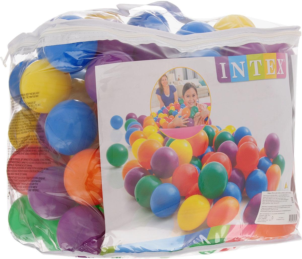 Intex Набор пластиковых шариков для сухого бассейна диаметр 8 см 100 шт