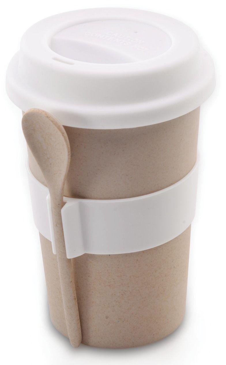 Кружка кофейная BergHOFF Cook&Co, с ложкой, цвет: бежевый, 500 мл26562Кружка кофейная BergHOFF Cook&Co выполнена из бамбукового волокна в виде бумажного стаканчика. Корпус снабжен силиконовой вставкой, благодаря которой вы не обожжете руки. Крышка с отверстием для питья также выполнена из силикона. В комплекте поставляется ложка. Такая кружка позволит взять кофе с собой куда угодно. Она практичная, качественная и компактная. С ней вы всегда сможете насладиться вашим любимым напитком.