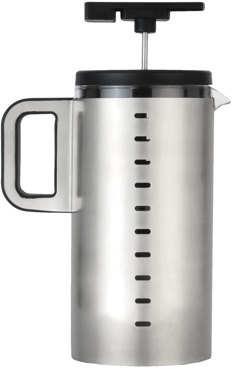 Френч-пресс BergHOFF Neo, 1 л54 009312Френч-пресс BergHOFF Neo предназначен для приготовления кофе методом настаивания и отжима, а также для заваривания чая и различных трав. Центральный элемент френч-прессов - плунжер - представляет собой фильтр с ручкой, позволяющий эффективно отделять сырье от напитка при отжиме. Корпус, фильтр и крышка выполнены из высококачественной нержавеющей стали с зеркальной полировкой, колба изготовлена из термостойкого стекла. Эргономичная прорезиненная ручка обеспечивает надежный хват и комфорт во время использования. Специальная сеточка-фильтр эффективно задерживает чаинки и кофейный осадок.